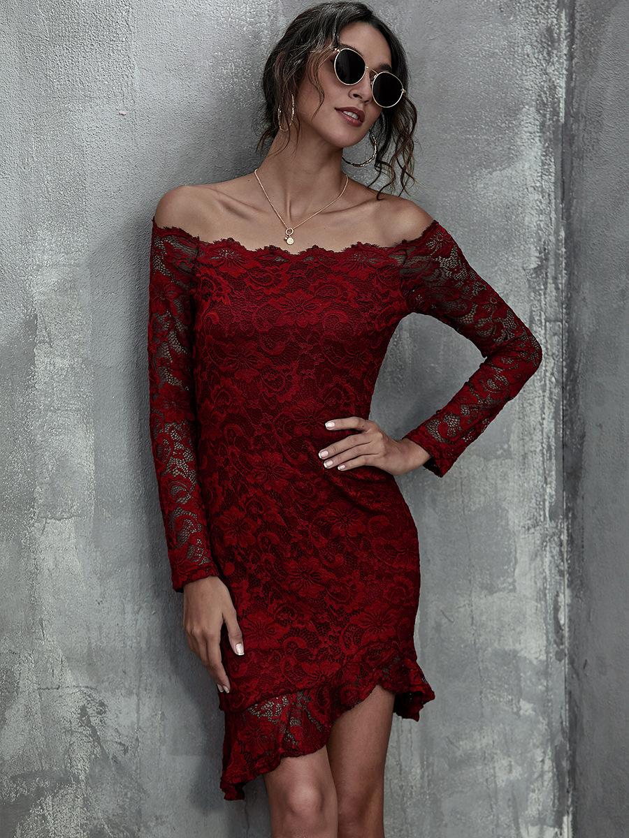 sexy one-shoulder ruffled slim lace wrap hip dress NSAL1919