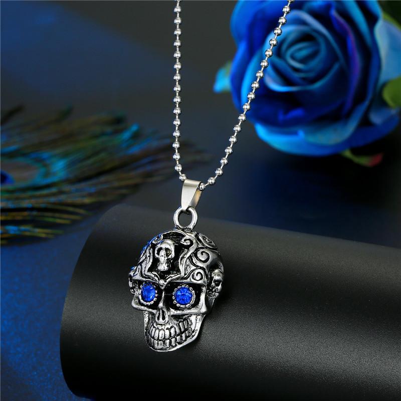 Fashion Multiple Skulls Diamond Skull And Human Bone Necklace