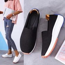 2020新款飞织乐福鞋坡跟防滑休闲学生舒适单鞋女圆头套脚女鞋批发