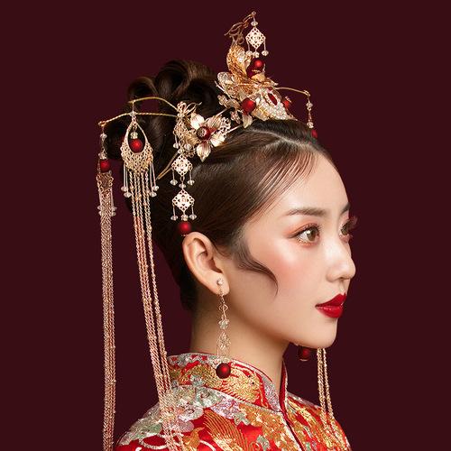 Chinese wedding Bridal headdress antique phoenix crown Chinese style Xiuhe clothing headdress wedding tassel step Xiuhe hair ornament