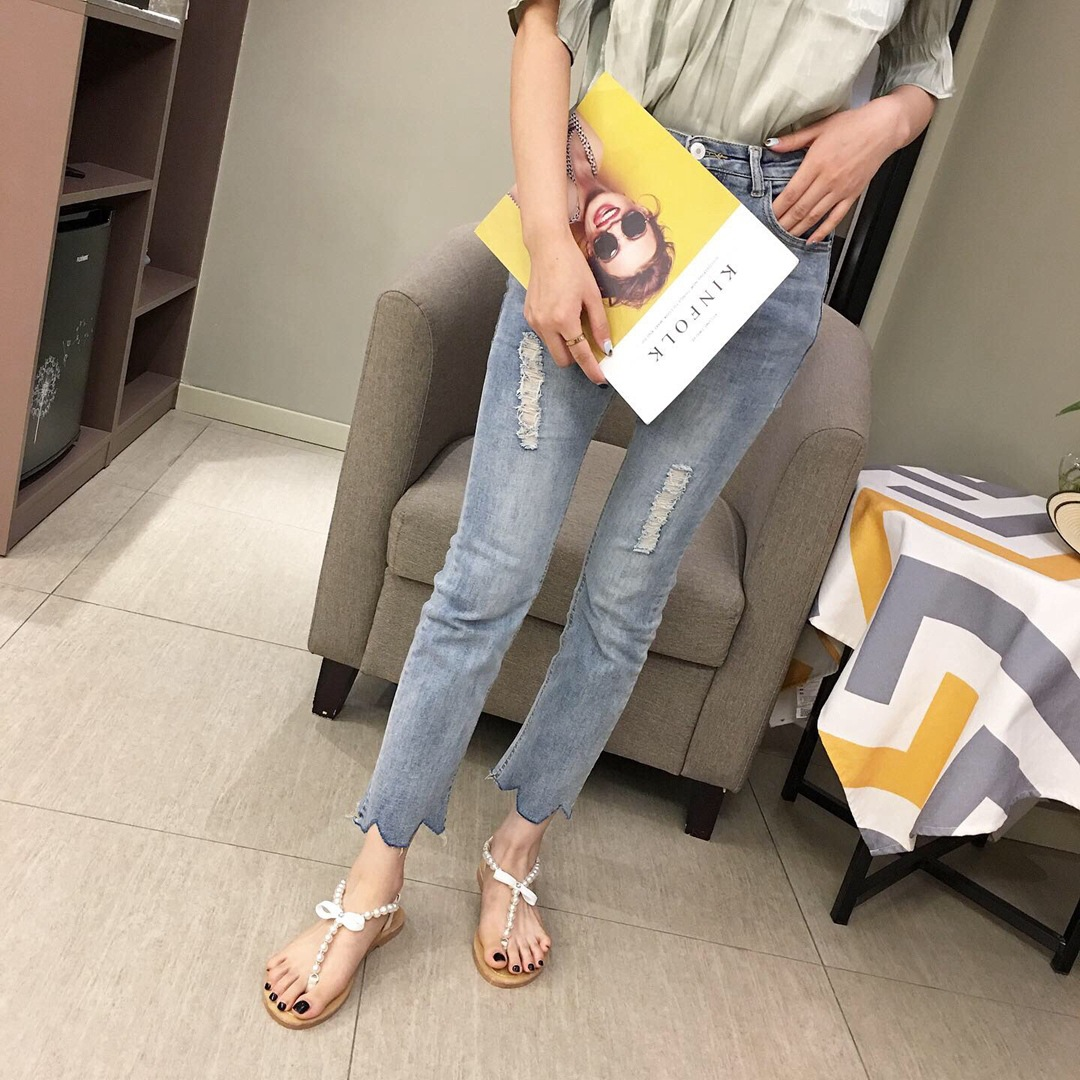 Flat sandals women's new summer fairy style wild bow pearl pearl toe Roman shoes wholesale NHHU206266
