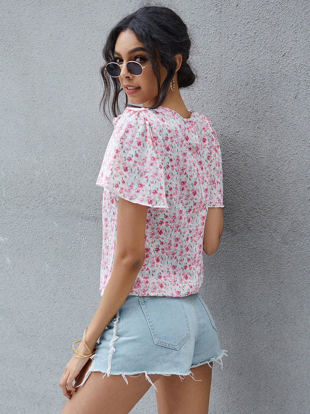 summer new fashion floral collar stitching short shirt fungus sleeve shirt shirt  NSDF357