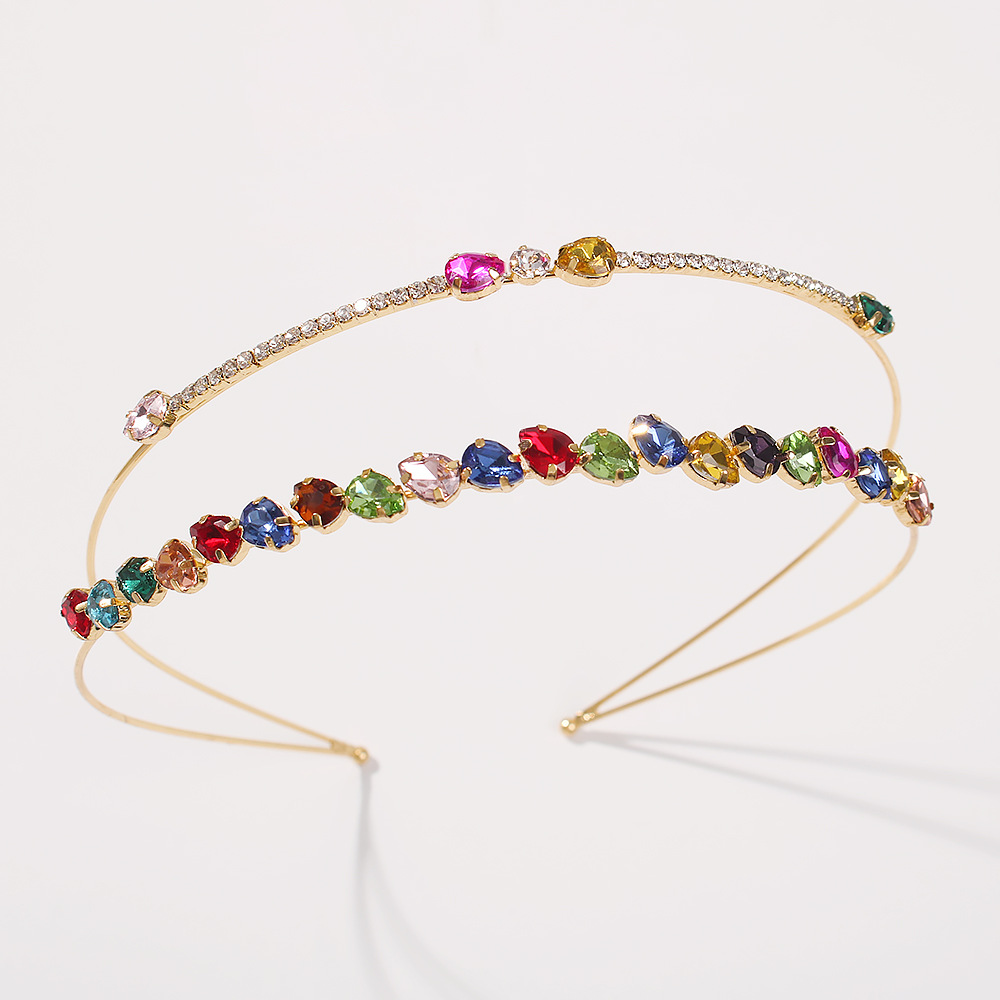hot-selling double-layer color diamond hair band bundle glass diamond hair accessories wholesale NHMD246194