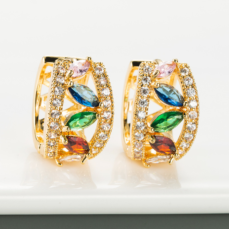 creative geometric hollow copper plated real gold micro-inlaid zircon earrings  NHLN270346