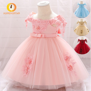 Factory direct supply European and American new one-shoulder baby fluffy flower girl princess dress one-year-old baby girl dress