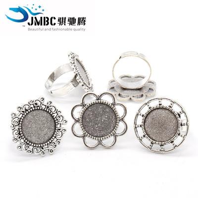 货源14mm复古圆形戒指 时光宝石底托 diy饰品配件开口戒指托 可调节批发