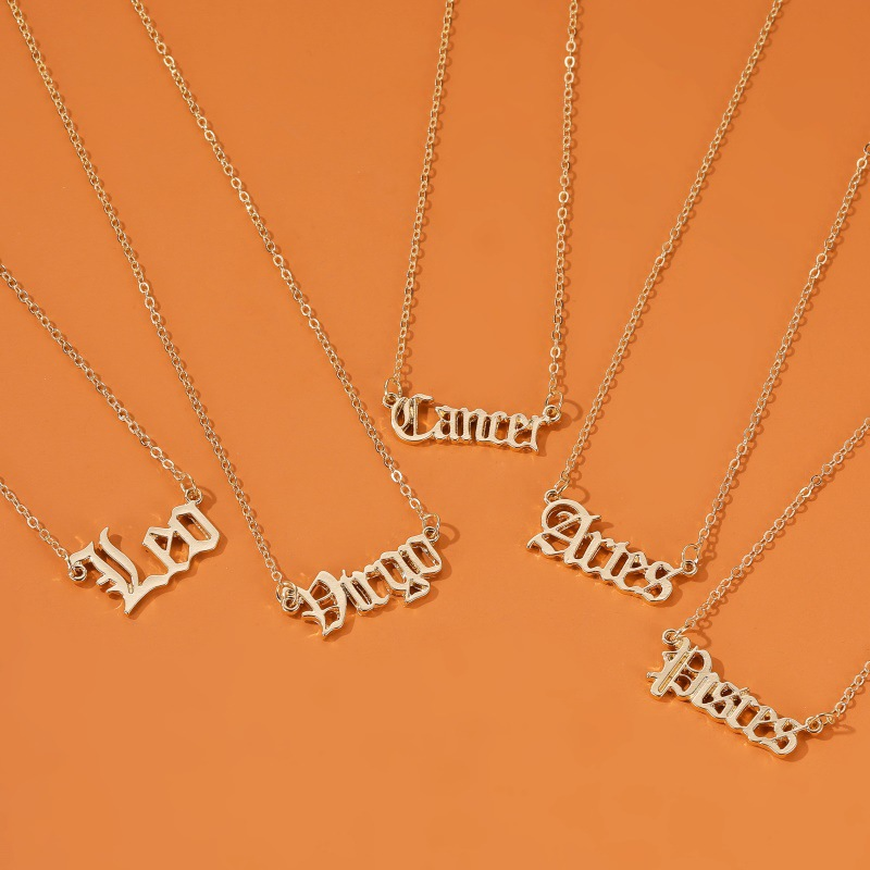 new hot selling jewelry personality creative twelve constellation necklace retro English alphabet pendant clavicle chain NHDP215304