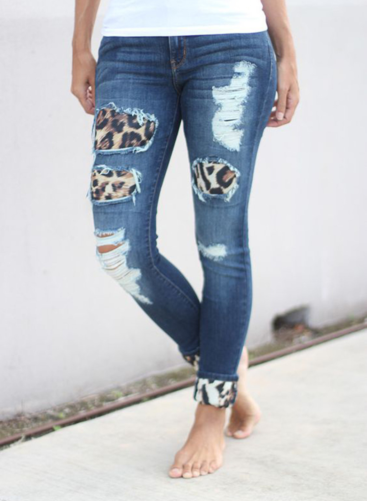 slim leopard print lining hand-worn ladies nine-point jeans NSSI2338