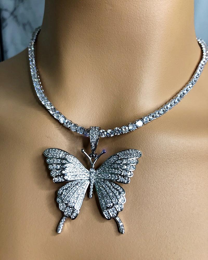 Fashion  rhinestone butterfly pendant necklace hip hop jewelry  choker NHDP240769