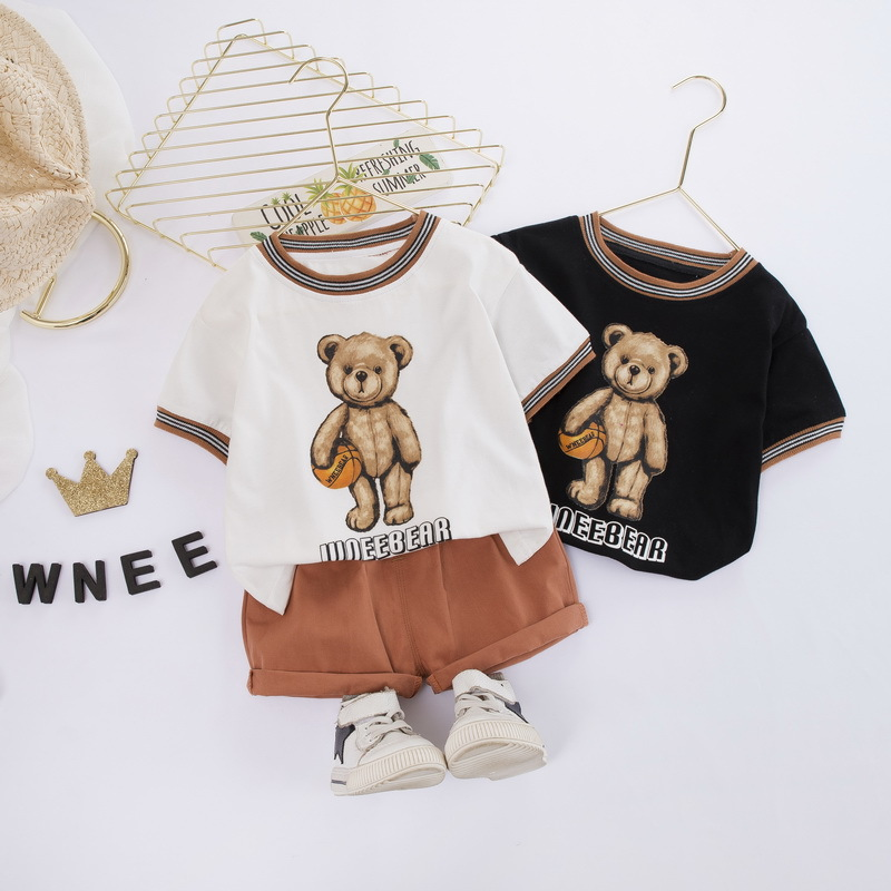 Boys' suit summer clothes 2020 new kids' baby foreign style cotton summer cartoon short sleeve two piece suit