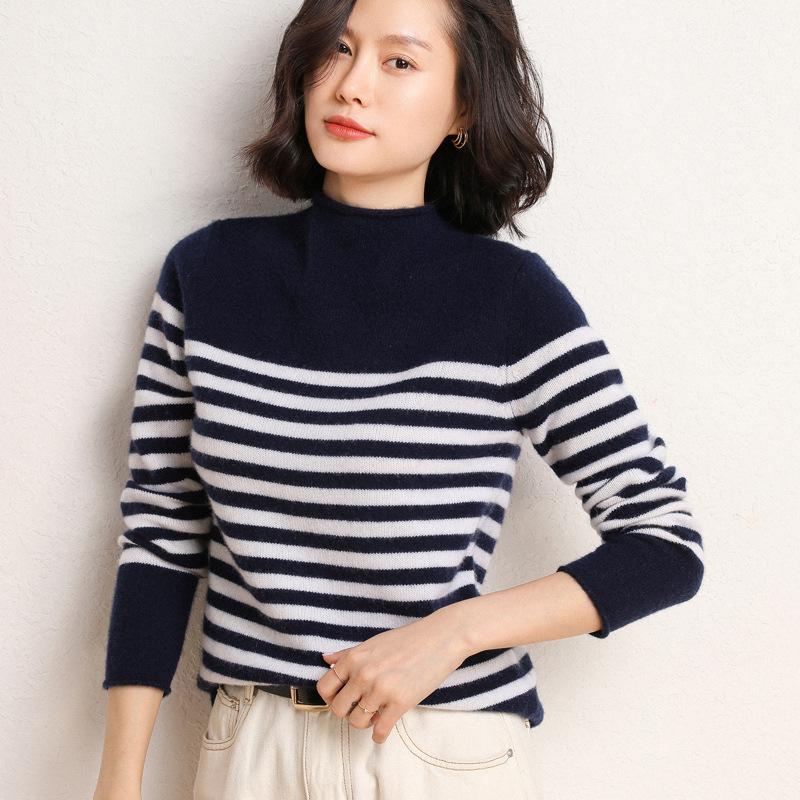 女加厚黑白条纹羊毛衫百搭半高领针织衫打底羊绒衫2020新款冬毛衣
