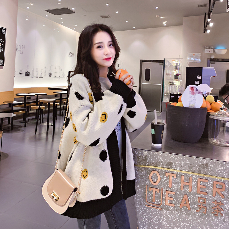 Net celebrity same paragraph 2020 spring and autumn new lazy smile knit cardigan jacket jacket wild sweater women's trend