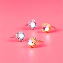S925純銀首飾 藍光紫荊花月光石耳釘 韓版簡約時尚花朵潮流女耳環