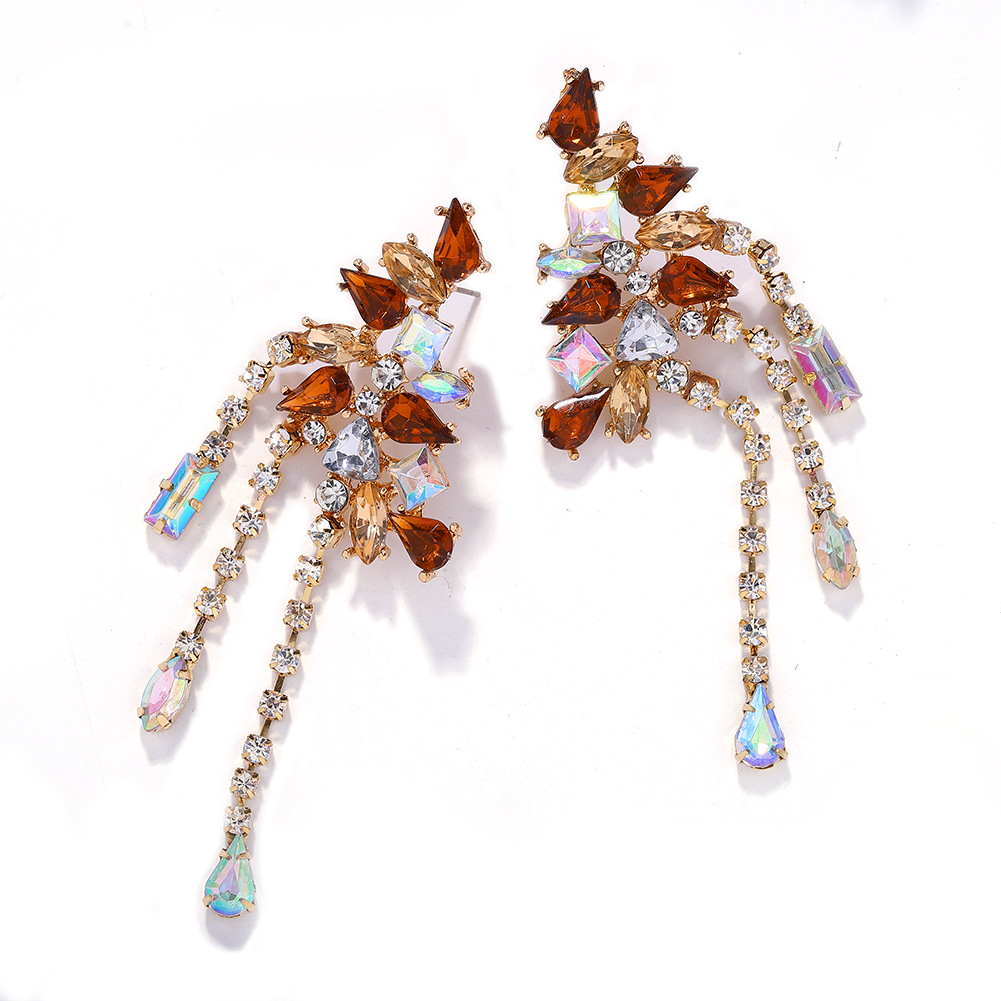 New fashion hollow diamond alloy personality water drop earrings women NHJQ198160