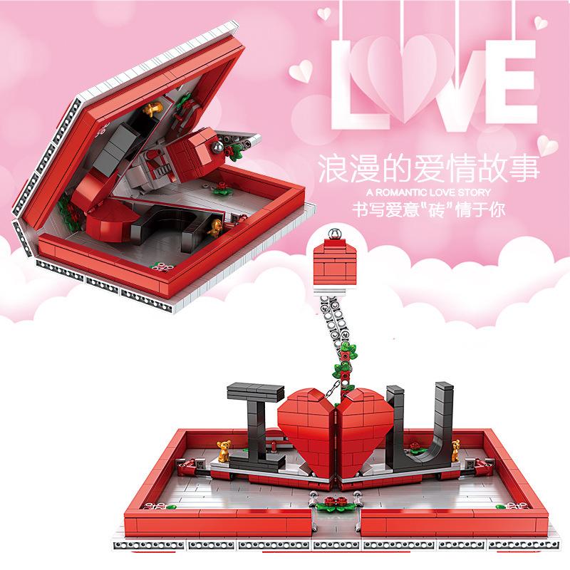 宇星10008创意系列520爱情表白书情人节礼物拼插装小颗粒积木玩具
