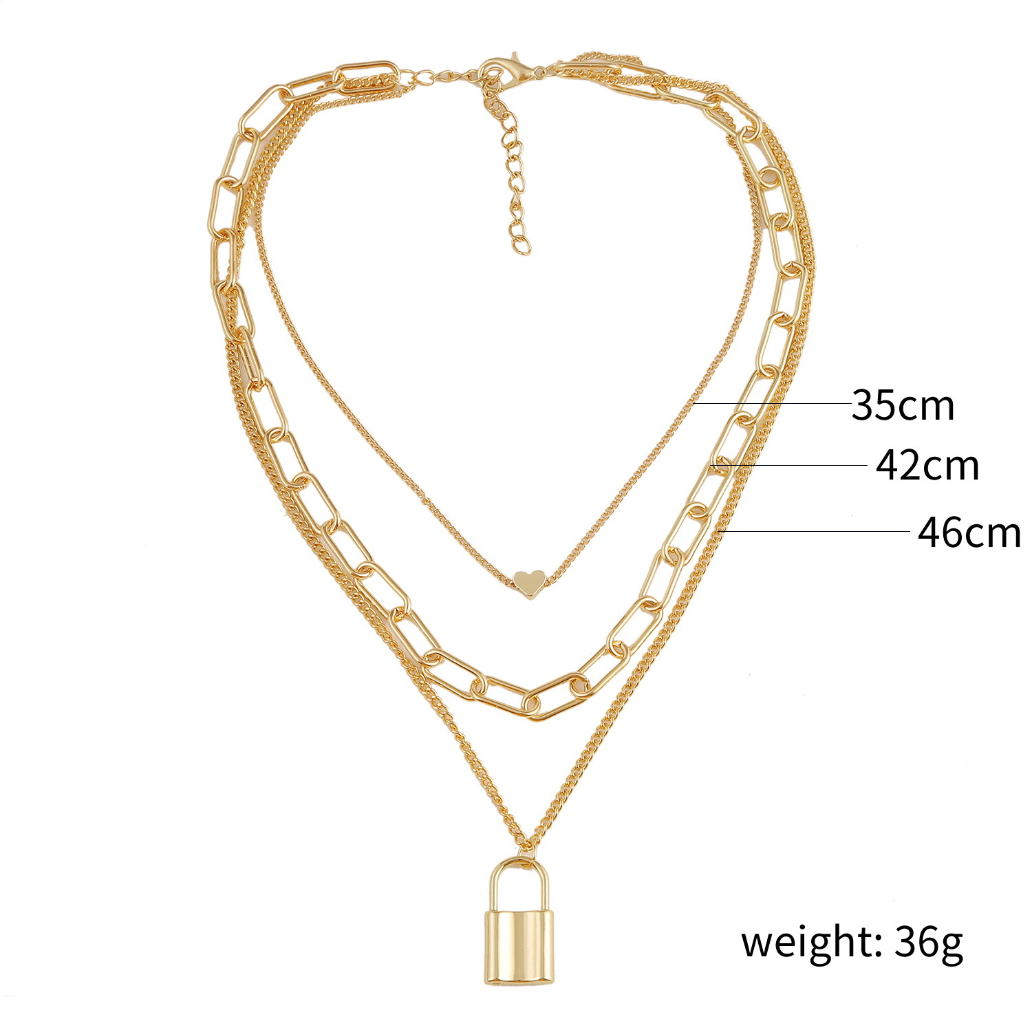 Fashion alloy lock heart necklace pendant three-piece clavicle chain hot sale wholesale nihaojewelry  NHJJ225345