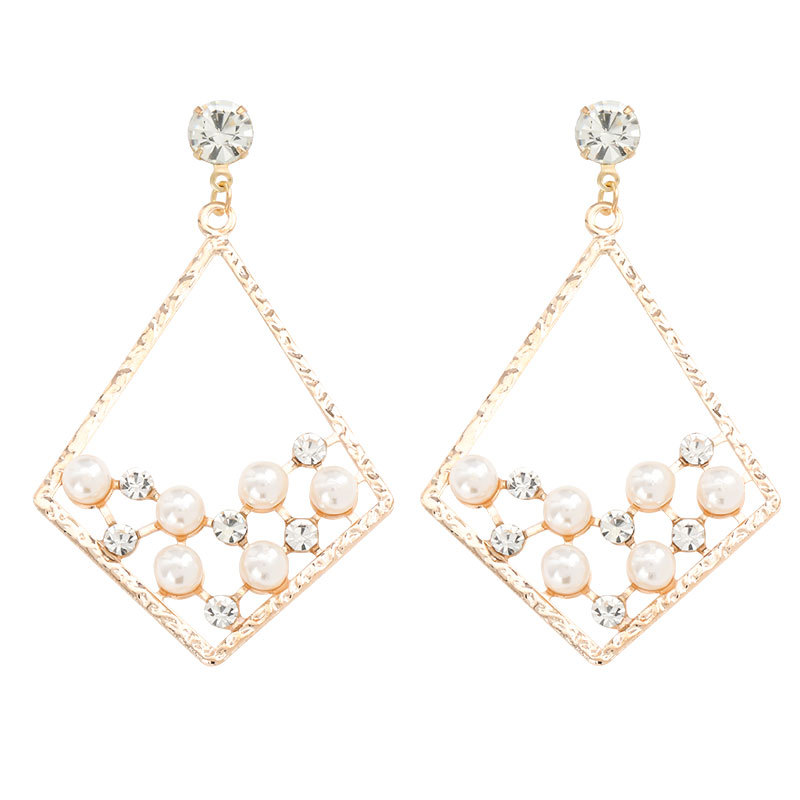 Fashion rhombus alloy acrylic diamond with pearl geometric earrings NHJE206516