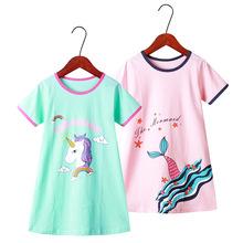 亲子家居服女童睡裙2020夏款中大童卡通短袖睡裙韩版儿童纯棉睡衣