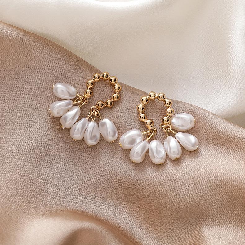 New trendy niche retro baroque pearl Korean women's ear jewelry earrings NHMS251641