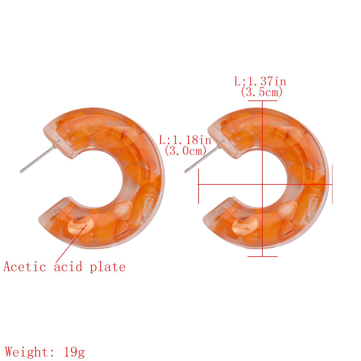 fashion stunning C-shaped cylindrical acetate plate earrings fashion  trend earrings wholesale nihaojewelry  NHJE218929