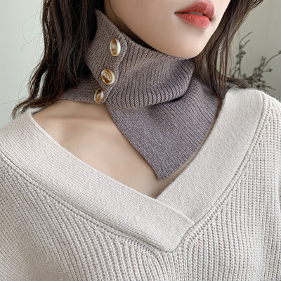 Fake collar Detachable Blouse Dickey Collar False Collar Chic button fake collar pure knitted small neck neck for women