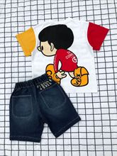 2020春夏新款 男女儿童  日系拼色撞色大头娃娃 T恤 短袖