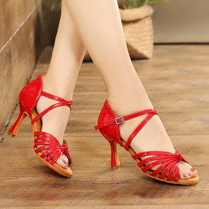 Latin dance shoes female adult high heel soft sole national standard dance shoes women's dance shoes with Cha Cha girl