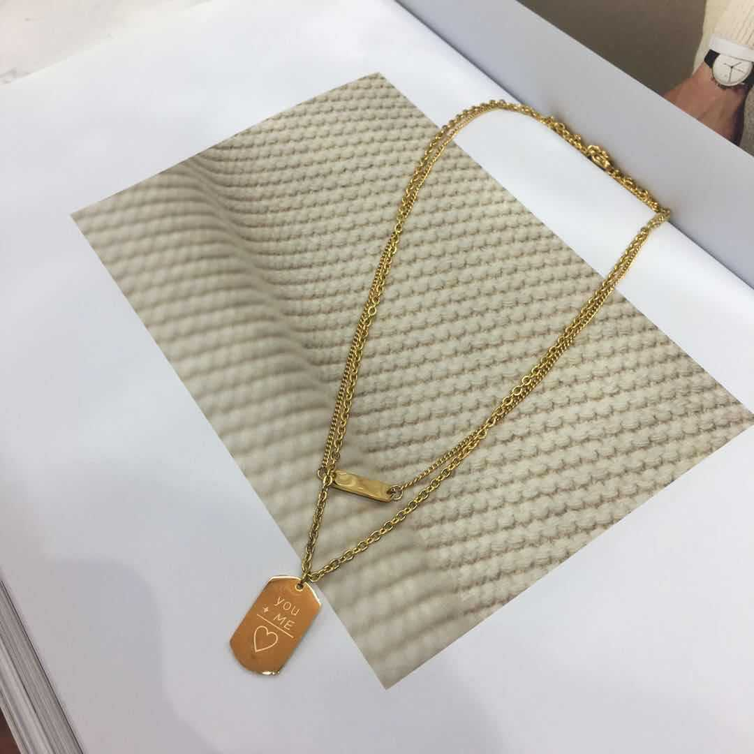 double-layer short clavicle chain non-fading non-allergic square pendant letter necklace wholesale nihaojewelry NHIM234628