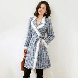 2028310-2021秋冬新款法式名媛女装翻领兔毛大衣保暖粗花呢外套