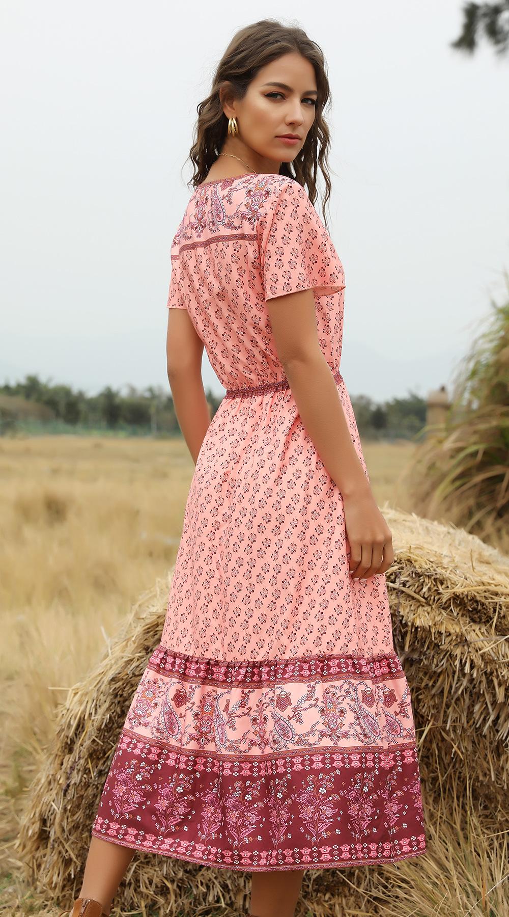 hot spring and summer print V-neck short-sleeved dress NSDF1506