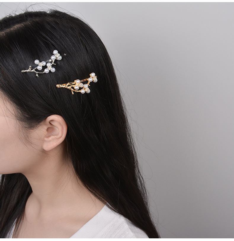 Fashion branch word clip Japanese and Korean pearl antlers hair clip side clip literary wild bangs clip wholesale nihaojewelry NHWF223637