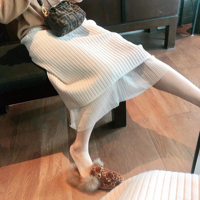 半身裙女ins超火百褶针织半身裙女秋冬两面穿毛衣中长款a字包臀裙