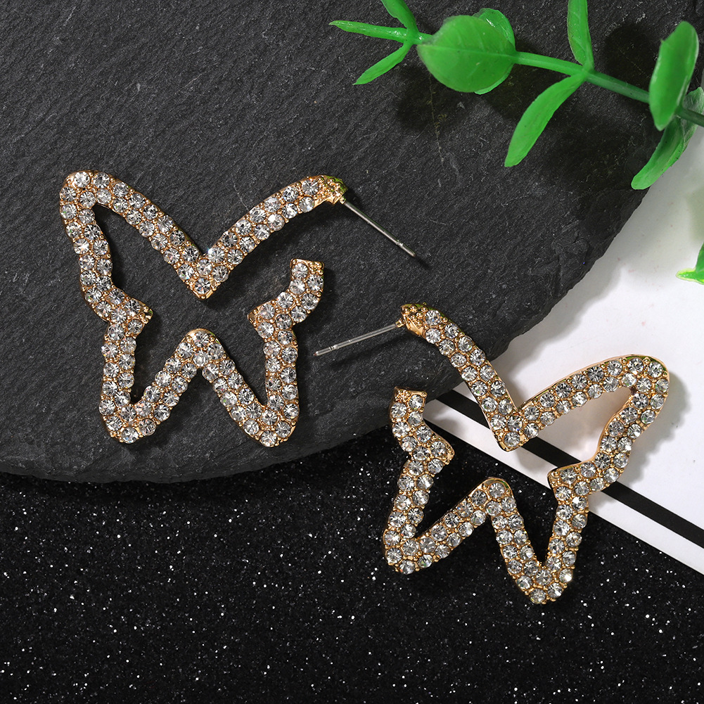 Jewellery for women Fashionable Simple Butterfly Diamond Earrings cheap New Ear Jewelry wholesales yiwu NHJQ202613