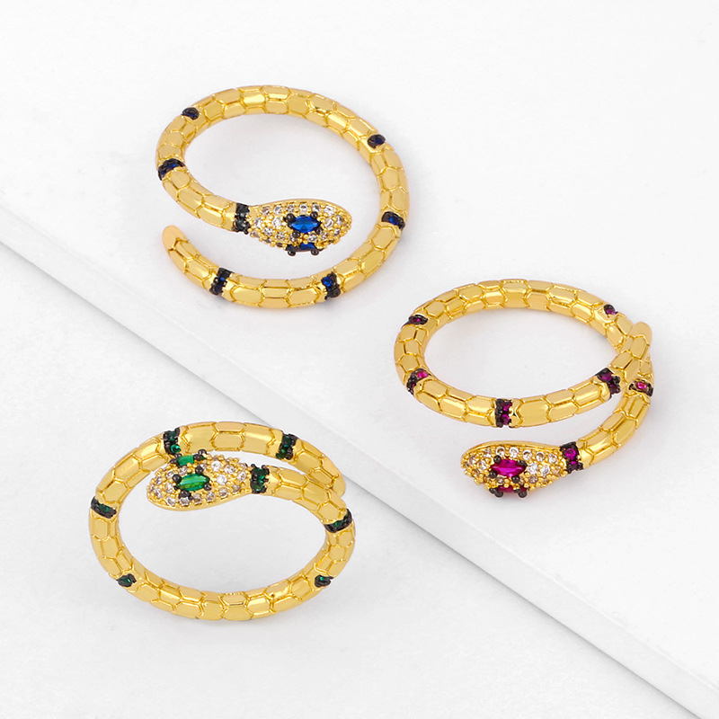 Snake ring female micro-inlaid zircon snake-shaped open ring diamond ring NHAS206555