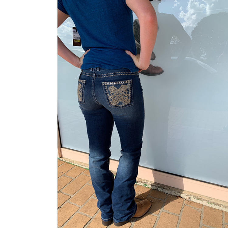 Jeans Embroidery Washed Slim Ladies Trousers