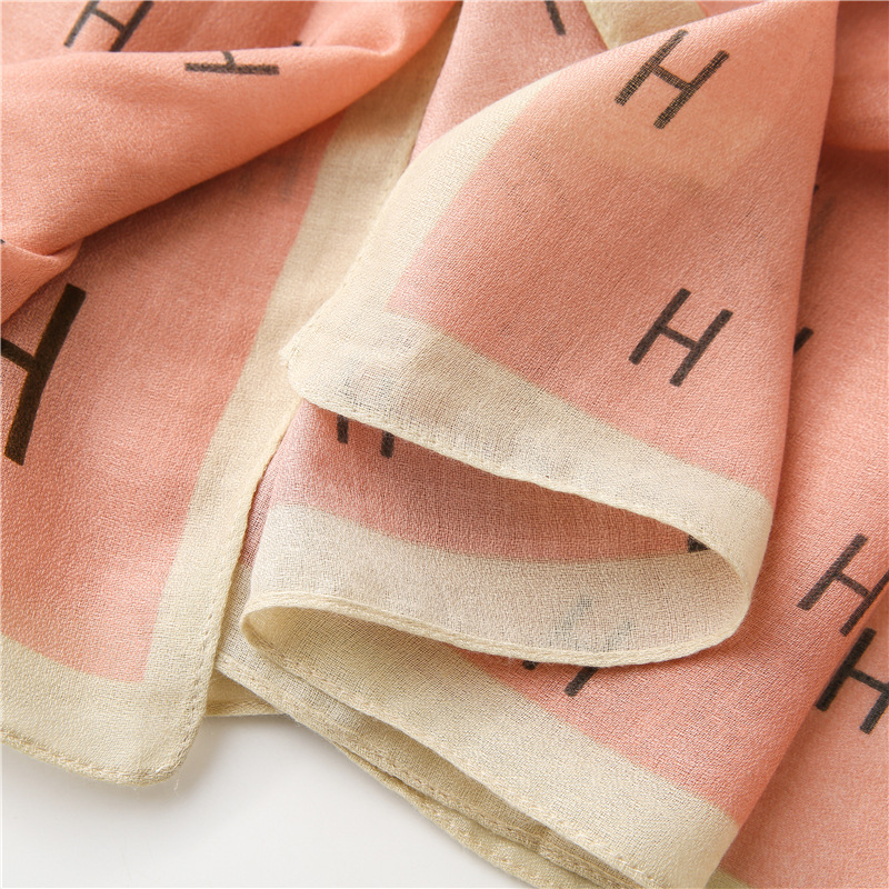 Letter color matching spring and autumn seaside shawl scarf dualuse NHGD270013