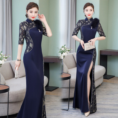 Cheongsam traditional chinese dress navy lace qipao long cheongsam spring female dignified atmosphere dress
