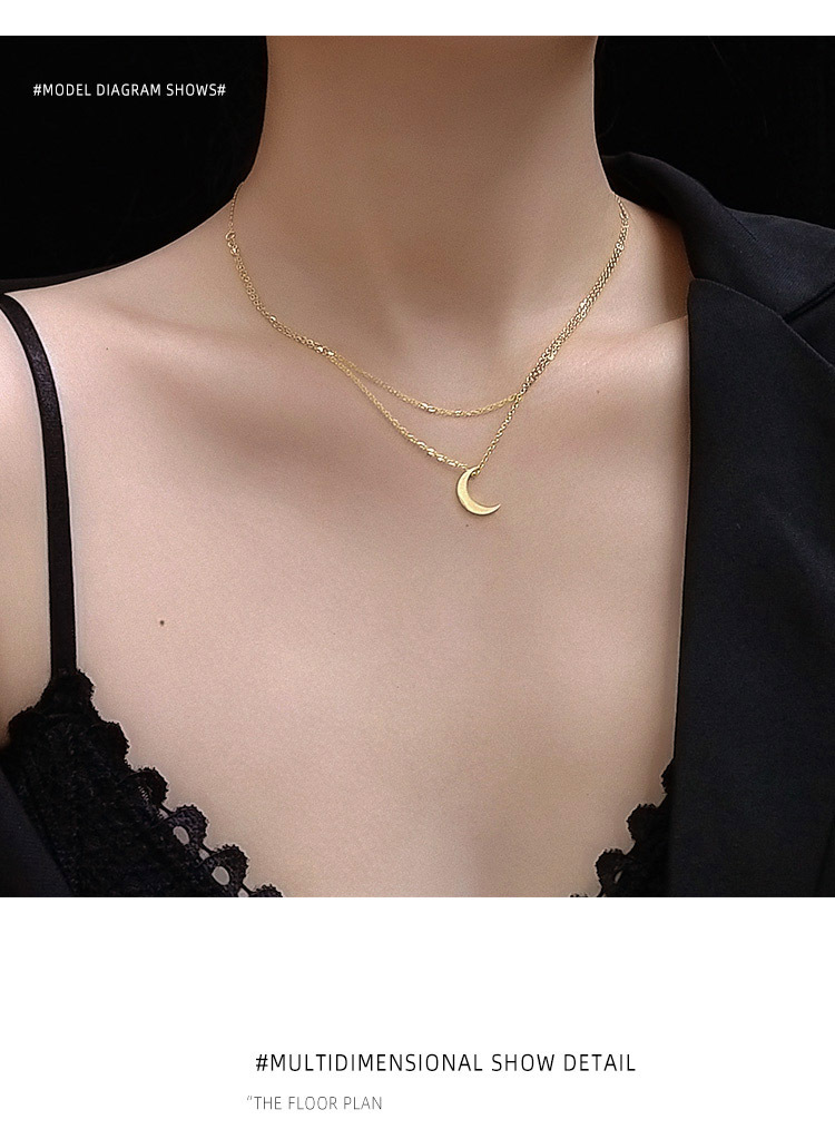 Double Clavicle Necklace Titanium Steel Plated 18K Real Gold Non-Fade Titanium Steel wholesale nihaojewelry NHOK235210