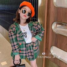 品牌童装2020秋装新品女童英伦风格子双排扣格子西装外套短裤套装