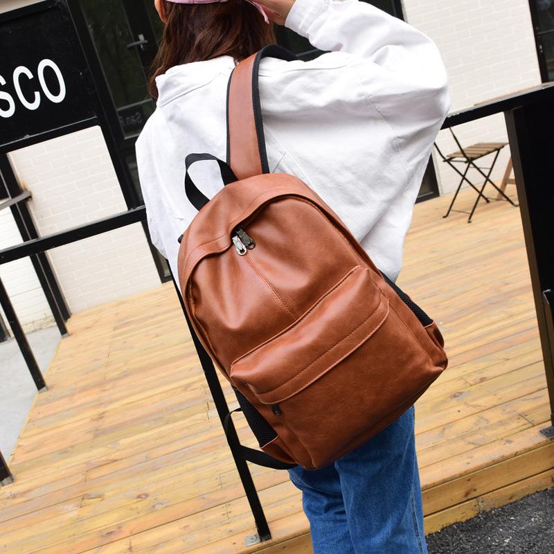 休闲双肩包男士背包青年PU皮韩版中学生书包时尚潮流黑色大旅行包