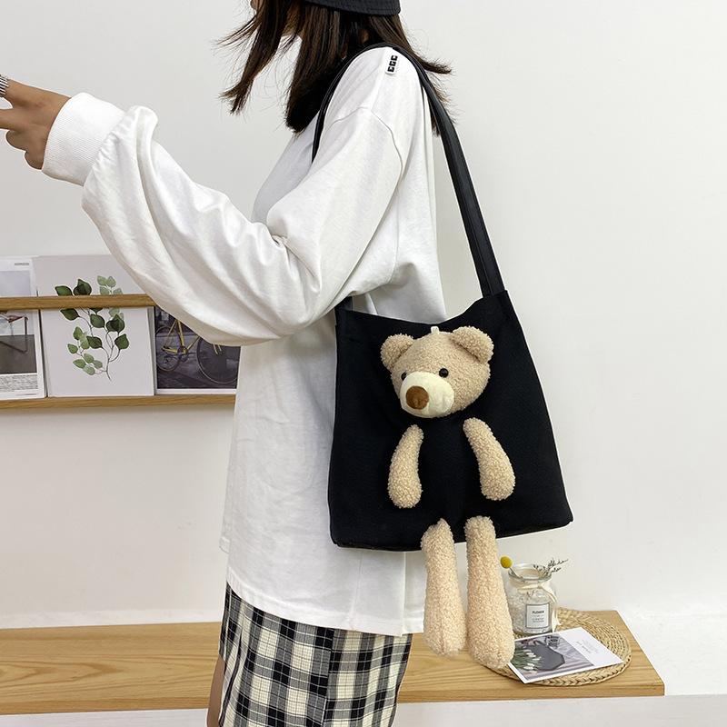2020 جديدة الإضافية لطيف قليلا الدب قماش حقيبة المرأة الطالب الكتف رسول حقيبة مش أحمر قدرة كبيرة واحدة في الكتف حقيبة الإناث