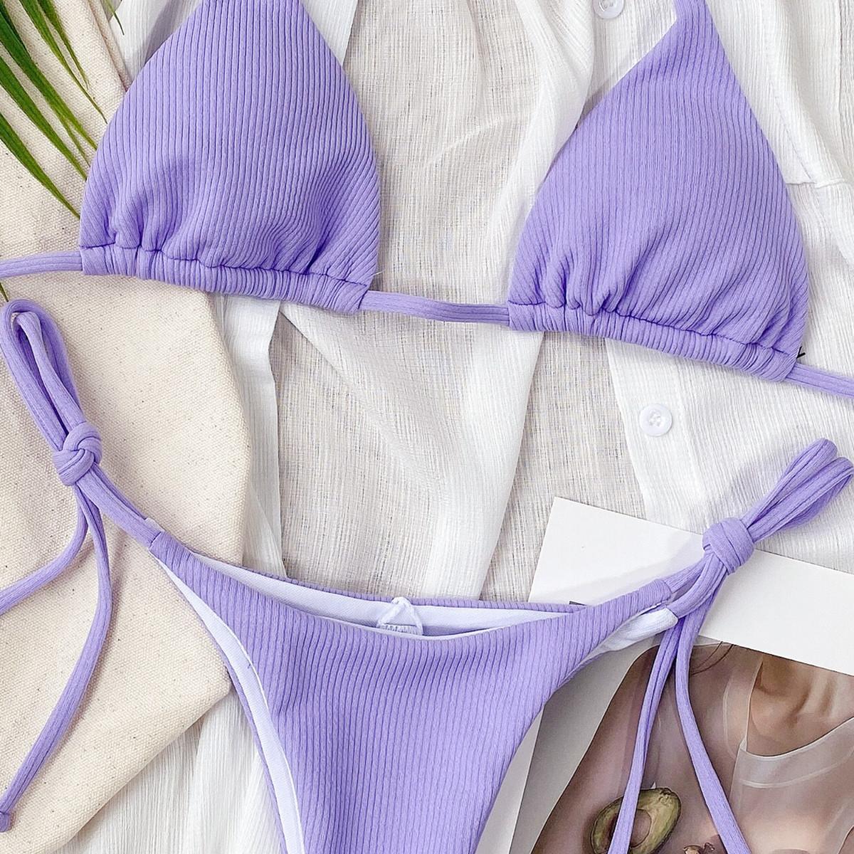 Hot Style Pure Color Bikini Ladies Split Swimsuit Triangle Bikini wholesale NHDA84