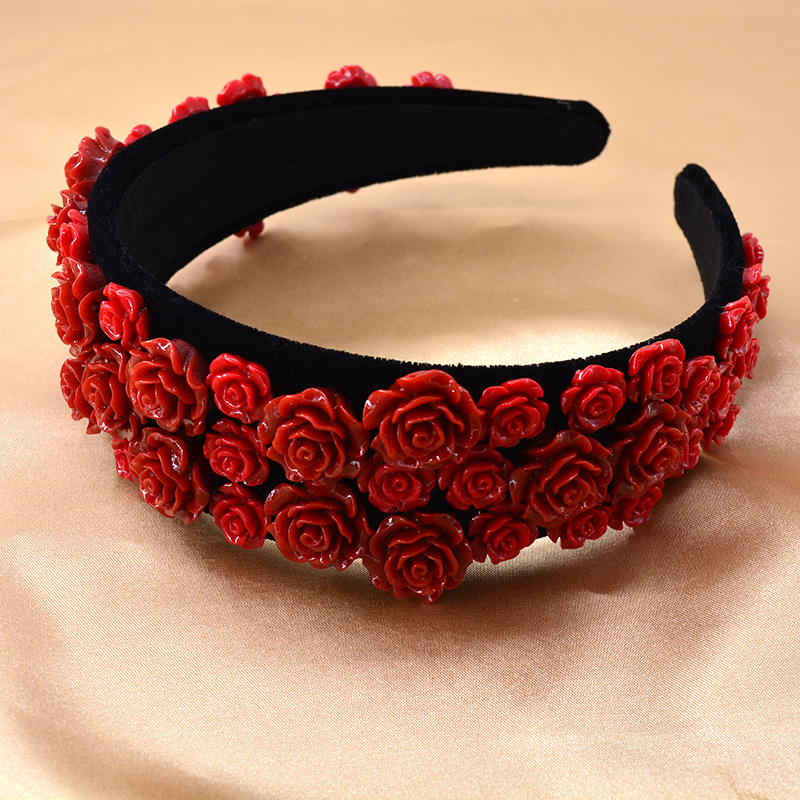 Korean fashion  new red rose Retro  color ceramic cheap  headband  nihaojewelry wholesale NHNT215348