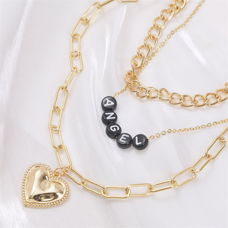 punk style metal letter multi-layer love necklace  NHLA266316