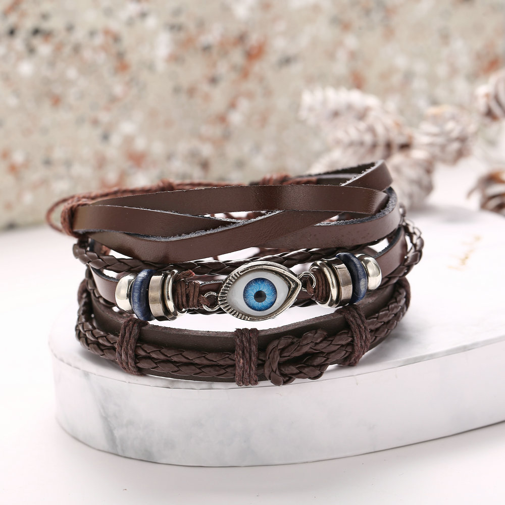 Eye braided leather bracelet set creative punk style black men's bracelet NHPJ201878