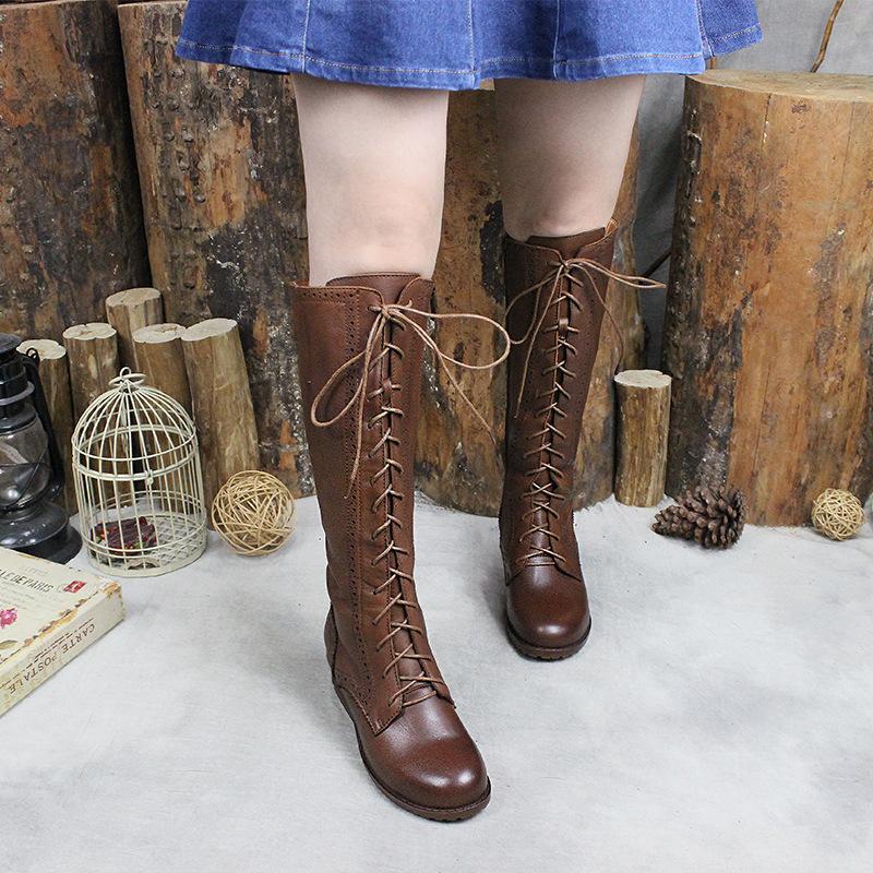秋冬新款真皮长靴全皮马丁靴女头层牛皮女靴子系带镂空花纹高筒靴