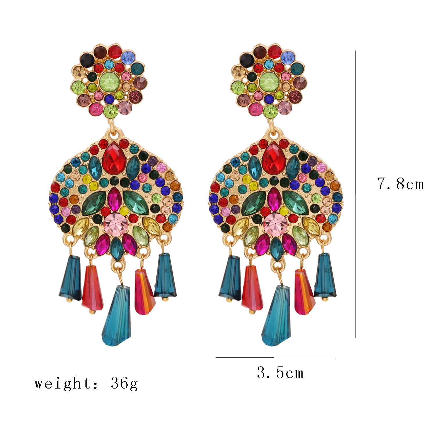 new fashion colorful diamond exaggerated geometric earrings fashion cold temperament earrings female nihaojewelry wholesale NHJJ216094