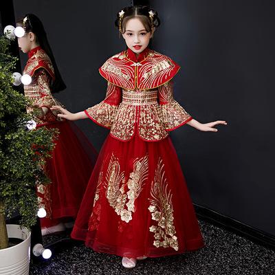 Children ancient Hanfu girl tang dynasty empress cosplay dresses long sleeve girl princess cosplay dresses