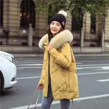 2020冬季新款真狐狸大毛領白鴨絨羽絨服女中長款繭型加厚保暖外套