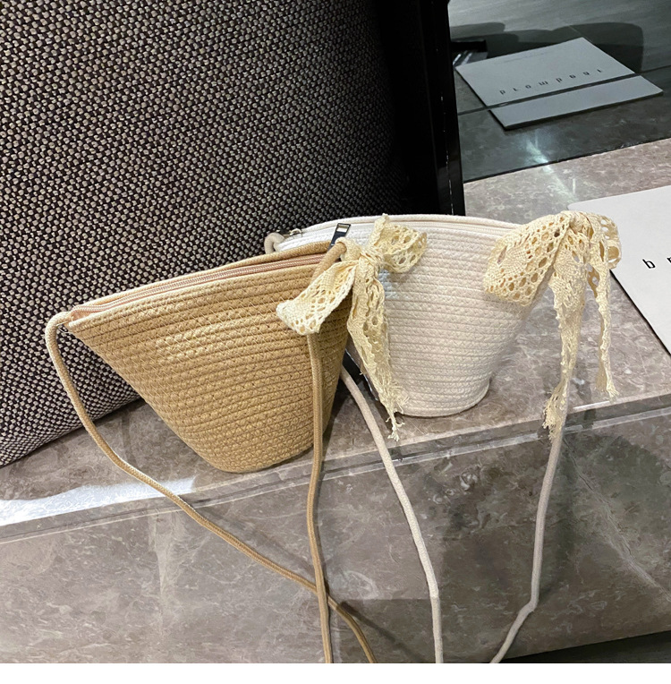 summer new woven bucket small bag Korean straw bag casual shoulder messenger simple vacation beach bag wholesale nihaojewelry NHGA224034
